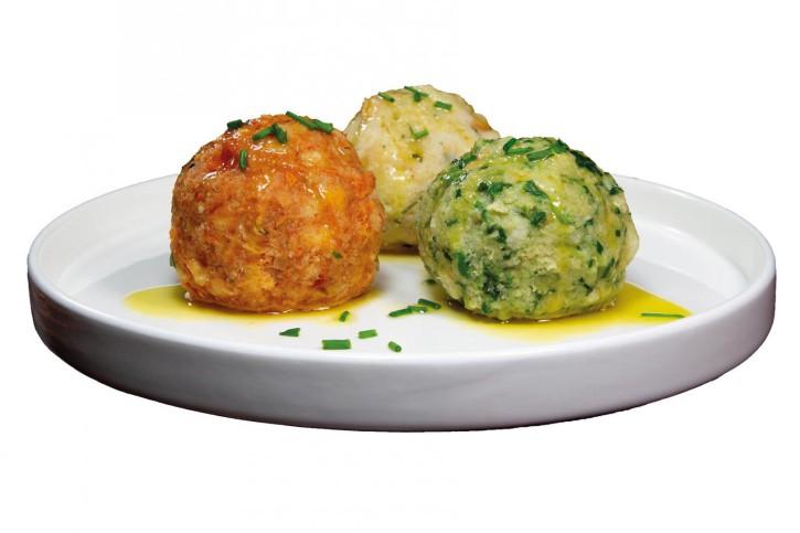Knödel-Trio Tomaten-, Käse-, und Spinatknödel 80g, 3 x 15 Stück
