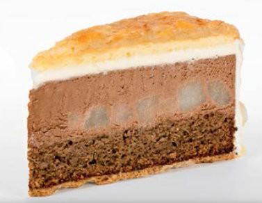 Pochierte Birne und Milchschokoladenmousse-Torte 135g, 14 Stück