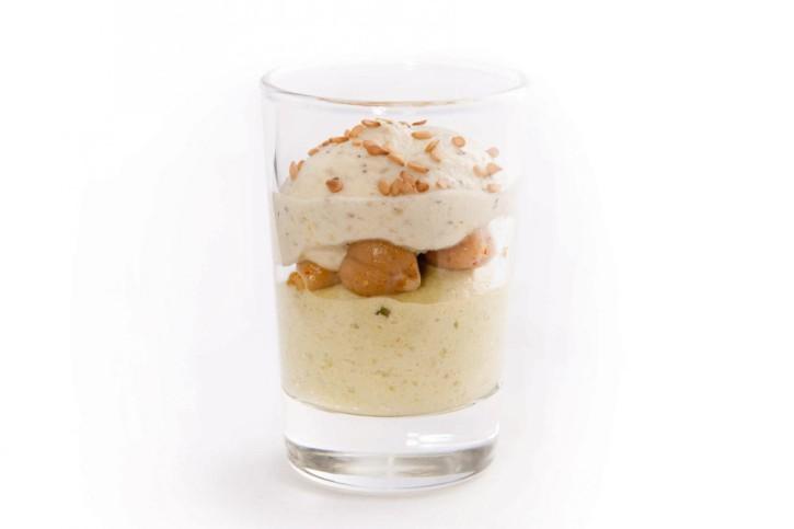 Dessert Petit pois menthe pois chiche tandoori im Glas 66 ml, 48 Stück